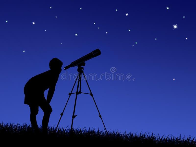 Junge betrachtet die Sterne durch ein Teleskop stockbild