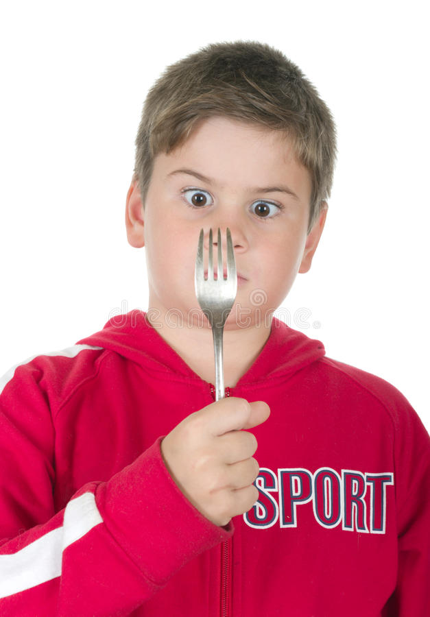 Junge betrachtet einen Bolzen ein lizenzfreies stockbild