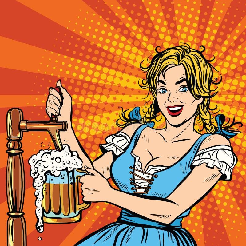 Junge blonde Frau gießt ein Bier, Deutschland-Staatsangehörigkostüm stock abbildung