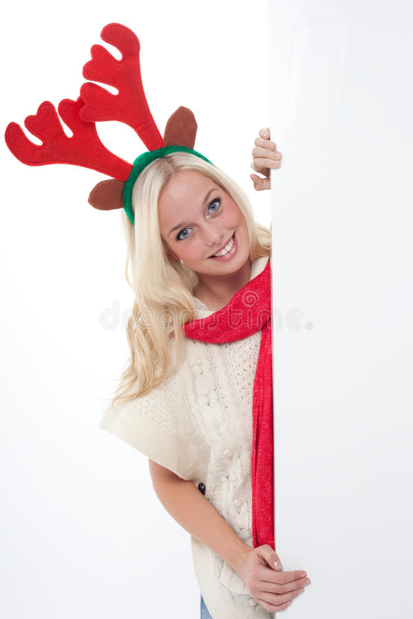 Junge blonde Frau mit Hupen stockfoto