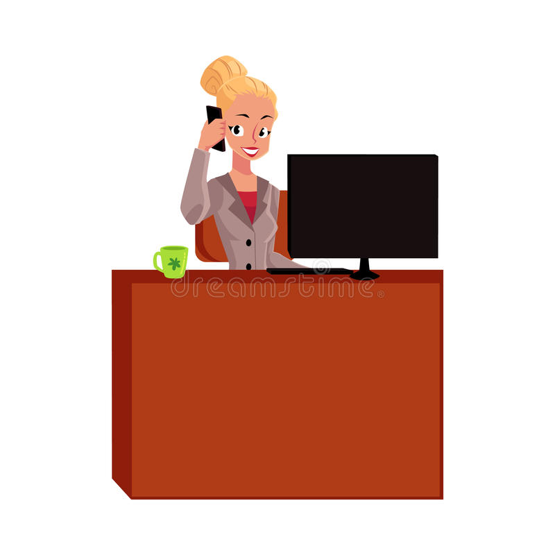 Junge blonde Geschäftsfrau, antwortendes Telefon Sekretärs, nennend am Bürotisch lizenzfreie abbildung