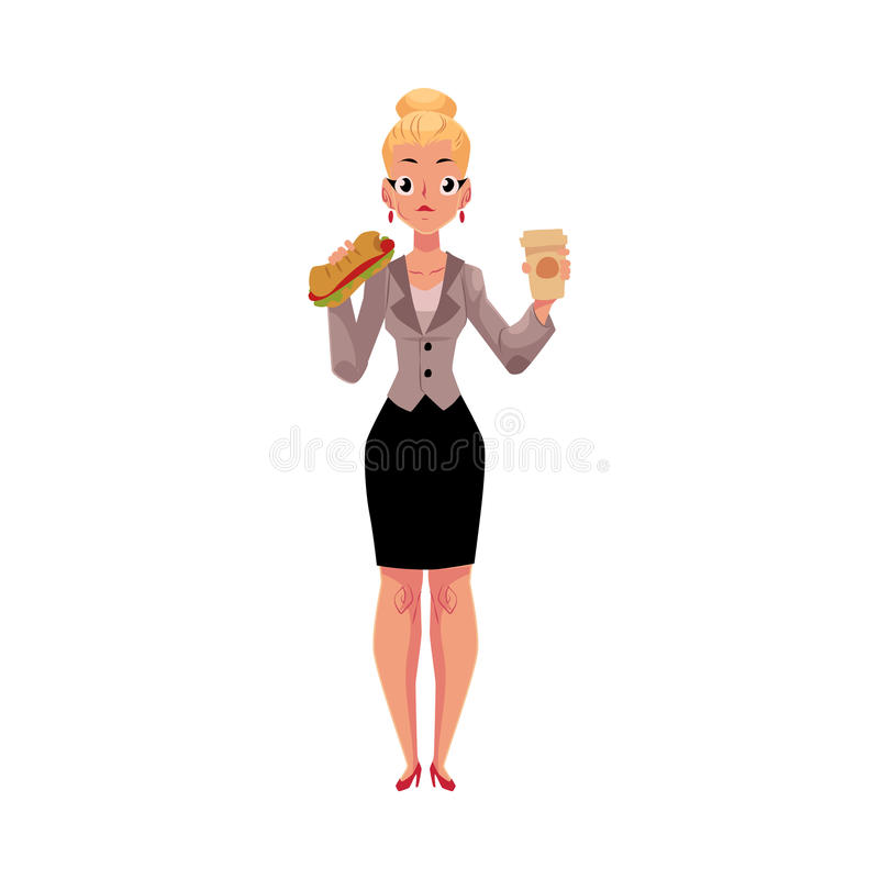 Junge blonde Geschäftsfrau, die das Sandwich, Kaffeetasse halten, Mittagspause isst lizenzfreie abbildung