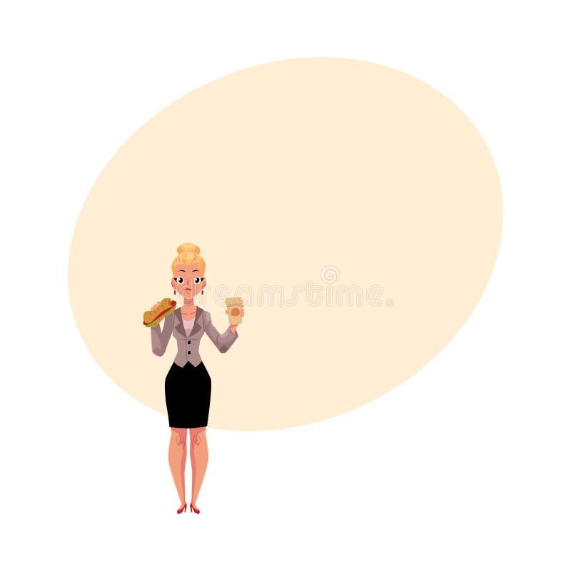 Junge blonde Geschäftsfrau, die das Sandwich, Kaffeetasse halten, Mittagspause isst vektor abbildung