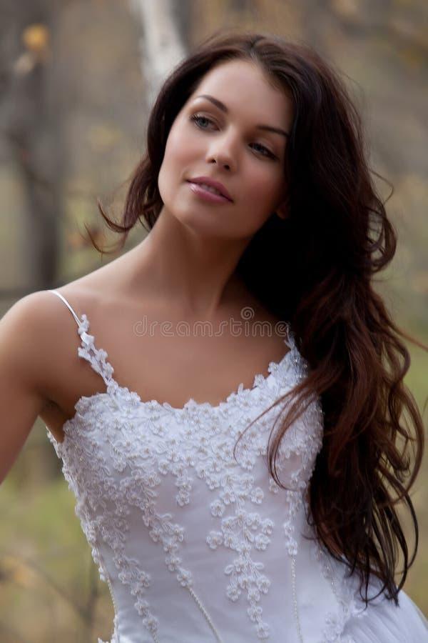 Junge Braut in einem Wald stockfotos