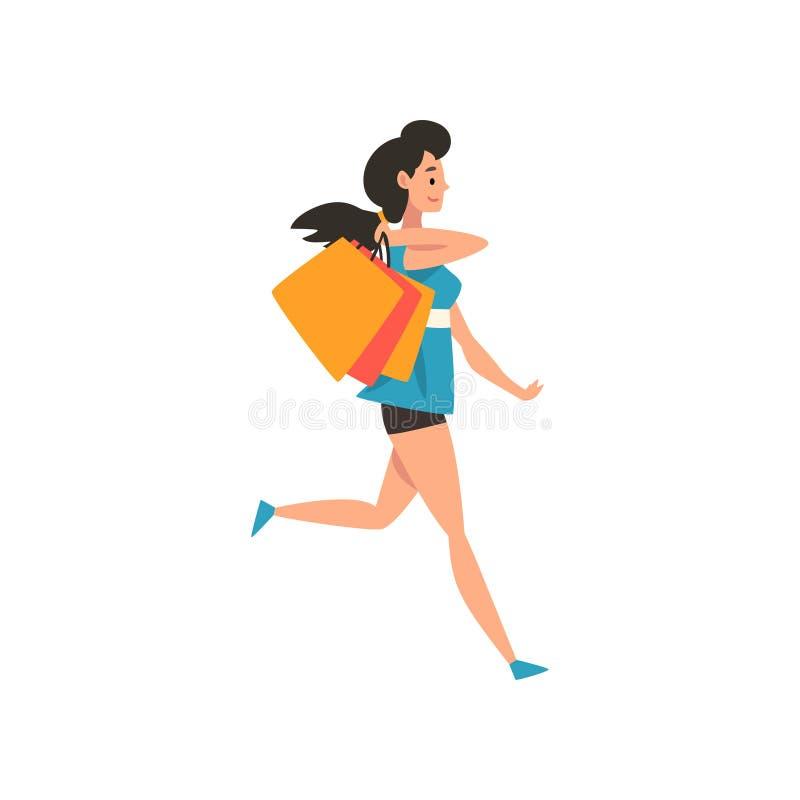 Junge brunette Frau mit Einkaufstaschen und Paketen, Mädchen, das Einkaufsvektor Illustration genießt lizenzfreie abbildung