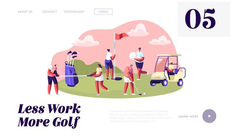 Junge Charaktere mit Golf-Ausrüstung und Wagen, glückliche Menschen, die auf Golf-Feld, Sport, Freien-Spaß, gesunder Lebensstil s stock abbildung