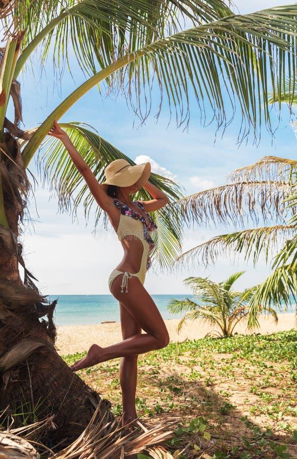 Junge dünne Frau nahe Palme auf tropischem Feiertagsmeer stockfoto