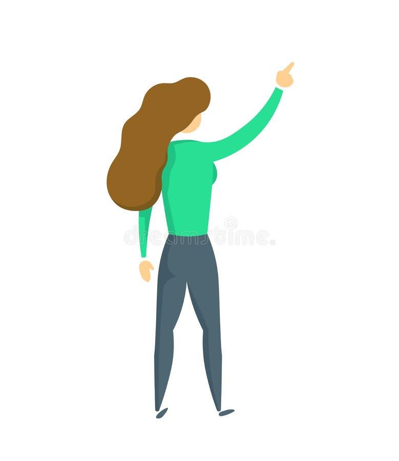 Junge Dame in der grünen Strickjacke mit ihrer rechten Hand oben, Rückseitenansicht Flache Vektorillustration Getrennt auf weißem vektor abbildung