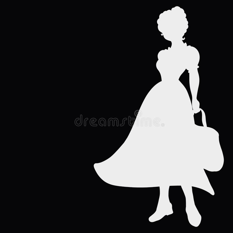 Junge Dame im Retro- Kleid mit Tasche, Schattenbild auf schwarzem backgrou stock abbildung