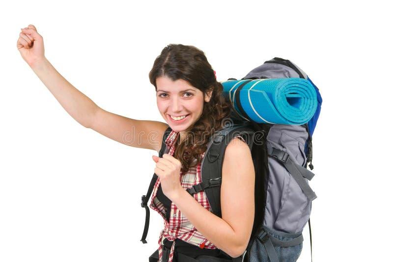 Junge Dame mit touristischem Rucksack lizenzfreies stockbild