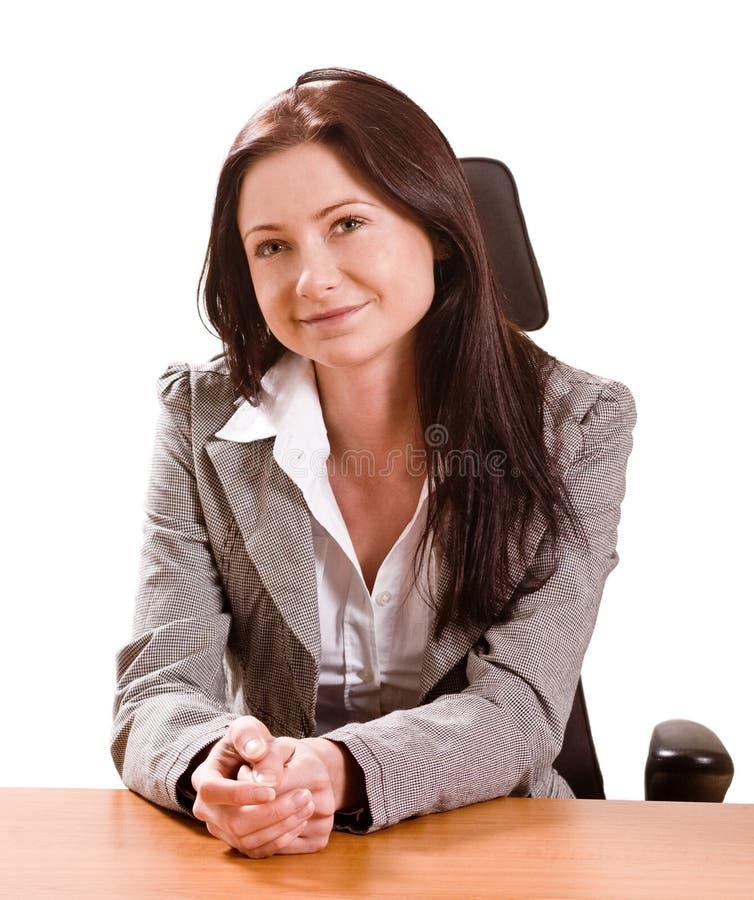 Download Junge Dame am Schreibtisch stockbild. Bild von haar, schreibtisch - 12203179