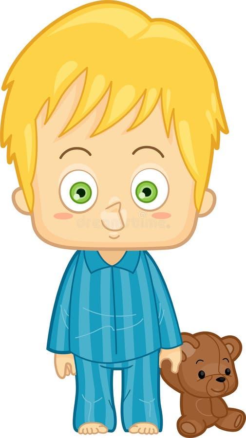Junge in den Pyjamas lizenzfreie abbildung