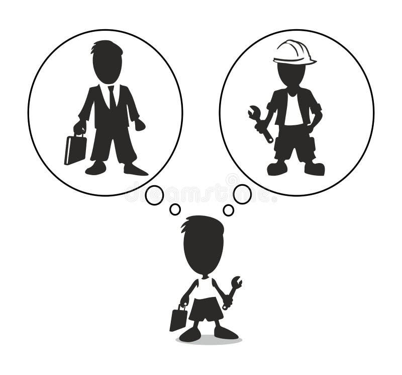 Junge denkt, welcher Beruf, zum einer Arbeitskraft oder des Geschäftsmannes zu wählen lizenzfreie abbildung