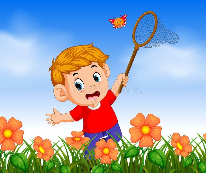 Junge, der anziehenden Schmetterling des roten Hemdes im Dschungel trägt vektor abbildung