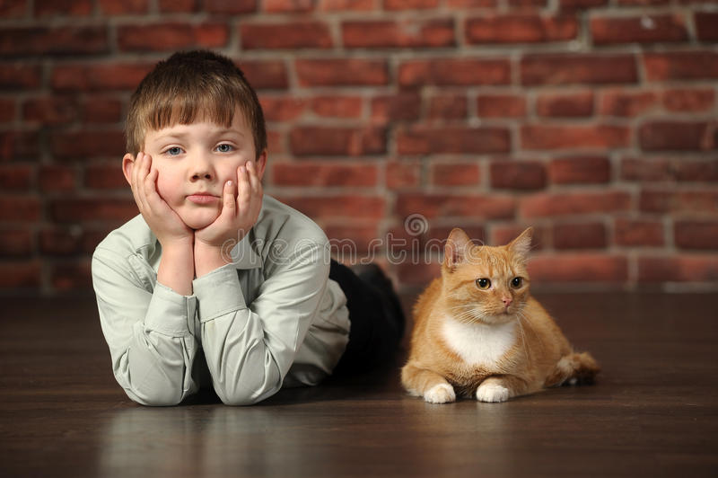 Download Junge, Der Auf Dem Boden Mit Katze Liegt Stockbild - Bild von kaukasisch, freund: 27732009