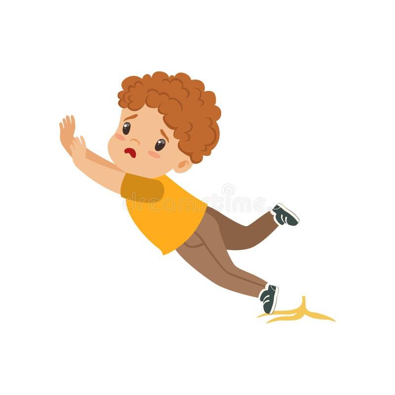 Junge, der auf einer Bananenschalen-Vektor Illustration auf einem weißen Hintergrund gleitet lizenzfreie abbildung