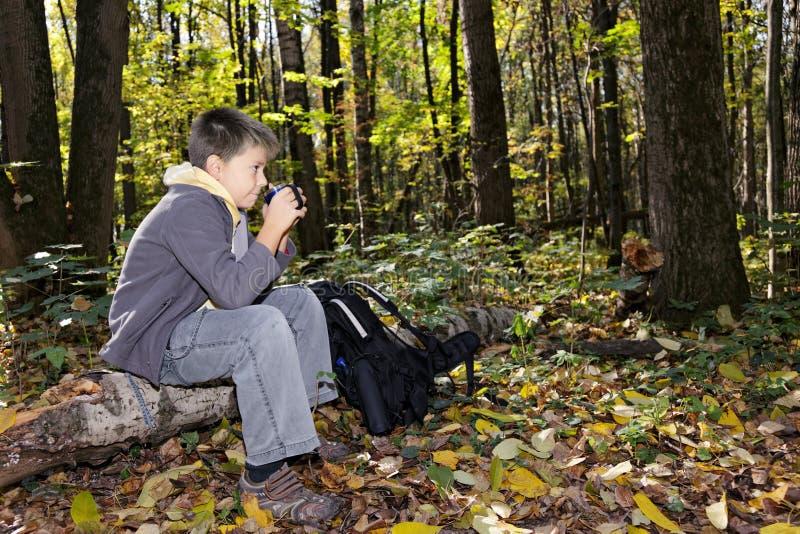 Junge, der auf Protokoll mit Cup sideview sitzt lizenzfreies stockbild