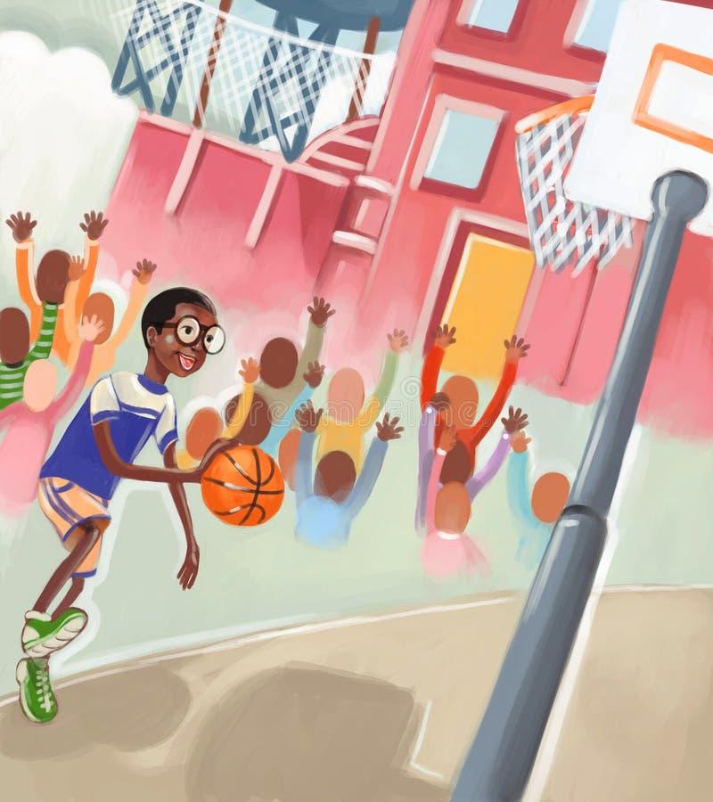 Junge, der Basketball spielt vektor abbildung