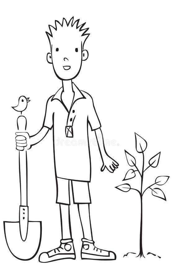 Junge, der Baumvektorabbildung pflanzt vektor abbildung