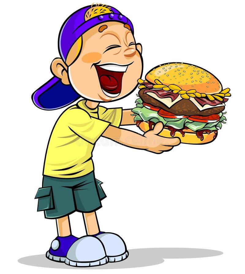 Junge, der Burger isst vektor abbildung
