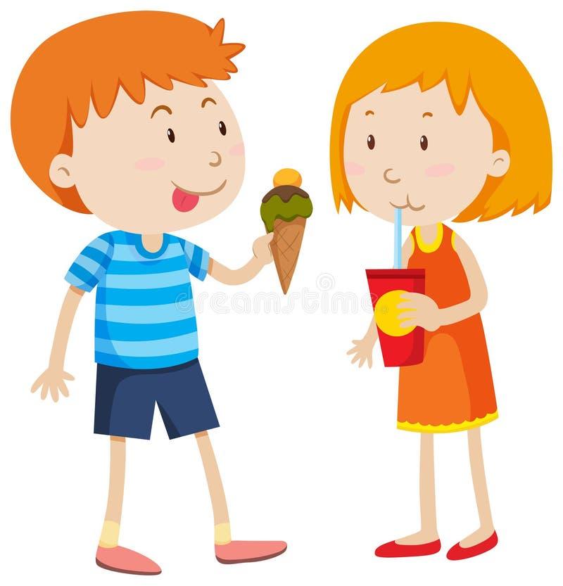 Junge, der das Eiscreme- und Mädchentrinken isst vektor abbildung