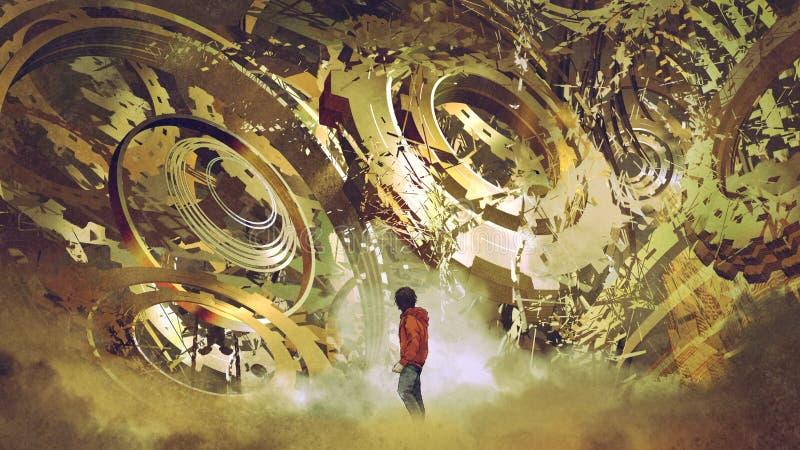 Junge, der defekte goldene Gänge betrachtet stock abbildung