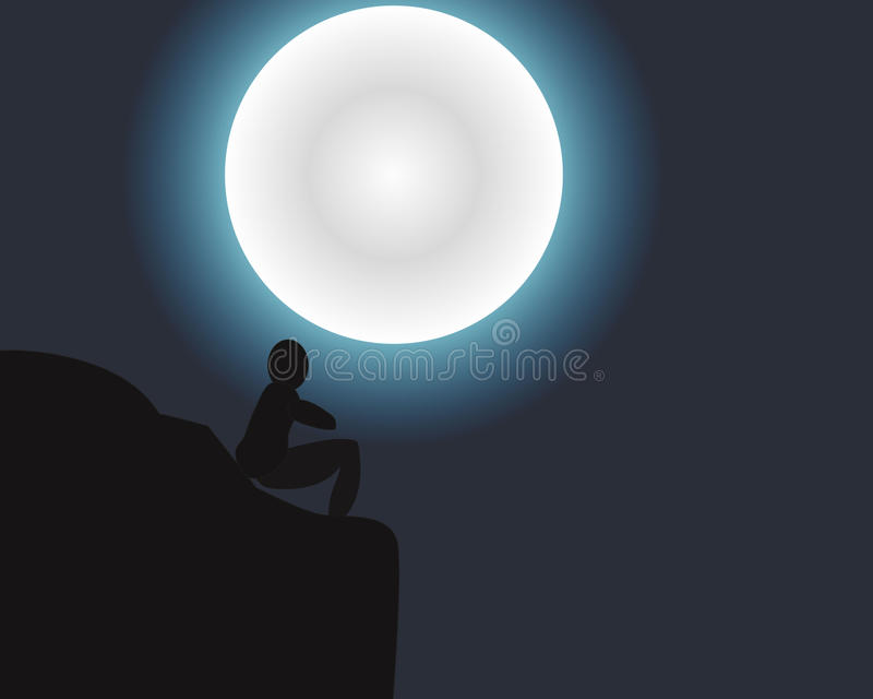 Junge, der den Mond sieht stockfotografie