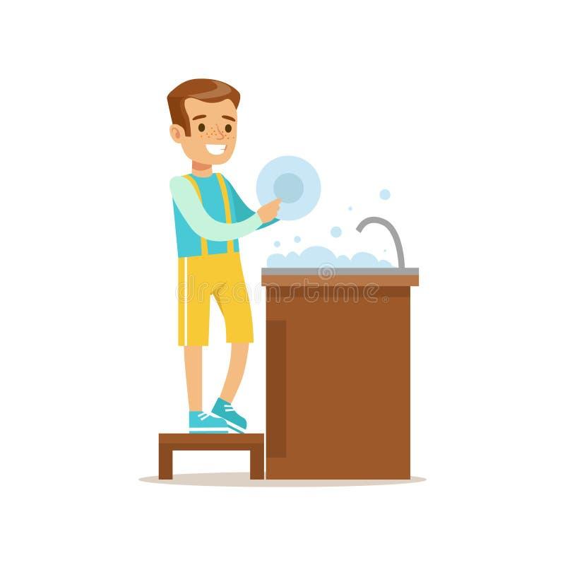 Junge, der den Teller-lächelnden Karikatur-Kindercharakter hilft bei der Haushaltung und tut Haus-Reinigung wäscht lizenzfreie abbildung