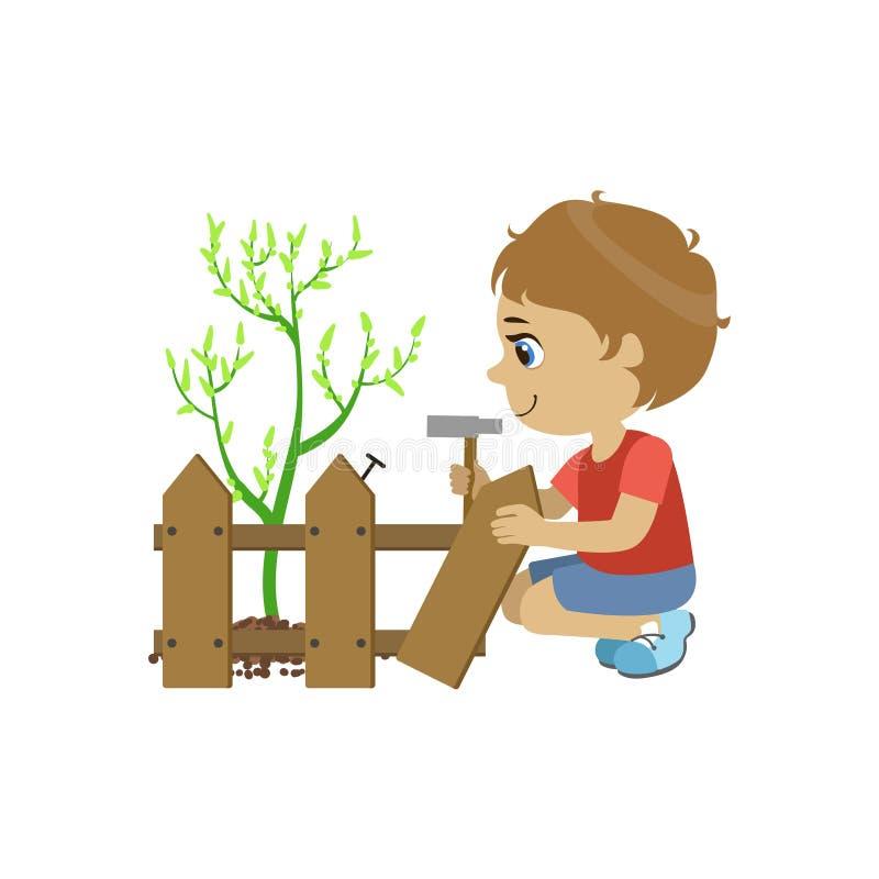 Junge, der den Zaun repariert stock abbildung