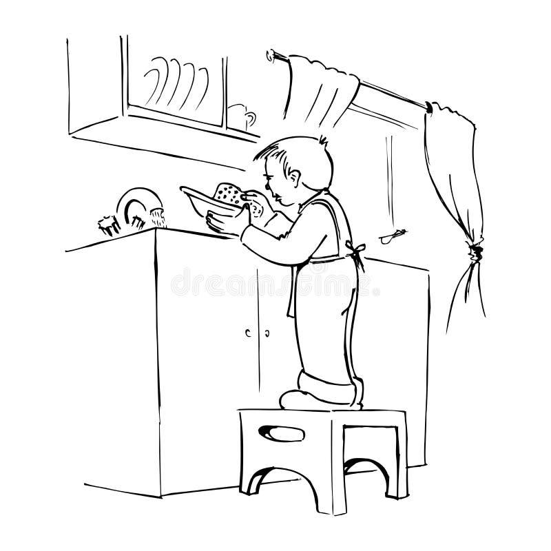 Junge, der die Teller wäscht lizenzfreie abbildung
