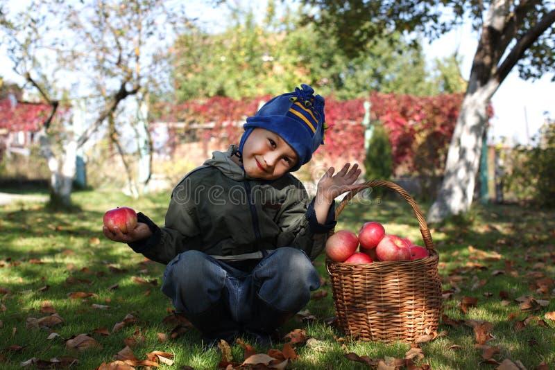 Junge, der draußen mit Äpfeln aufwirft lizenzfreie stockfotografie