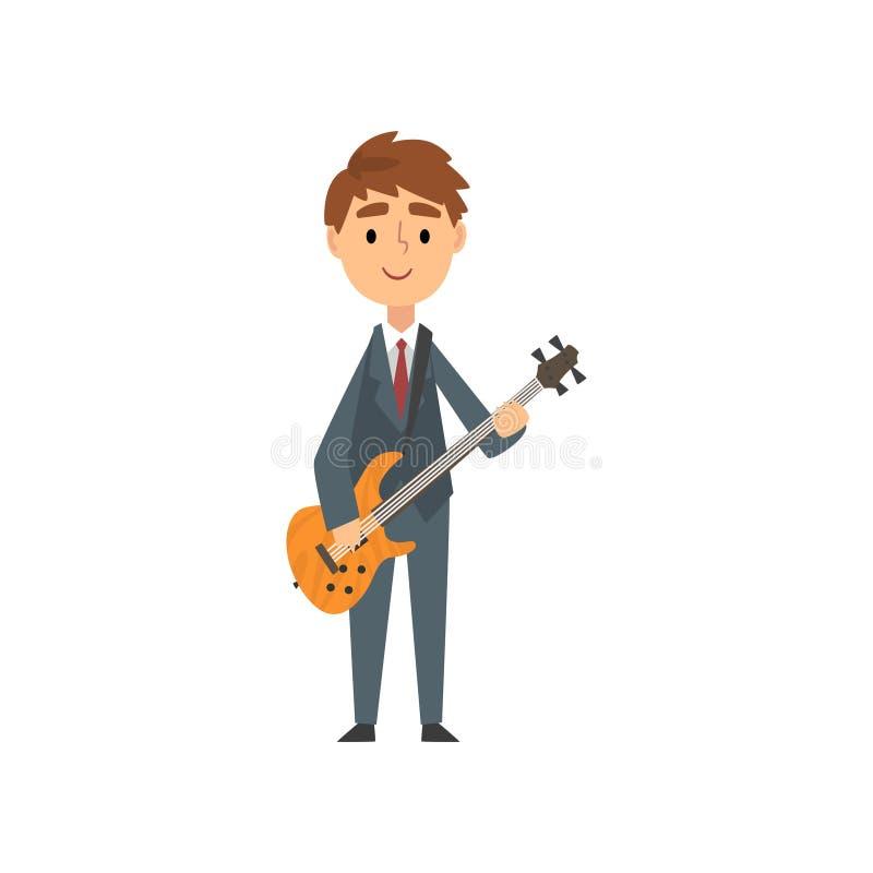 Junge, der E-Gitarre, begabte junge Musikinstrument-Vektor-Illustration Musiker-Character Playing Strings spielt stock abbildung