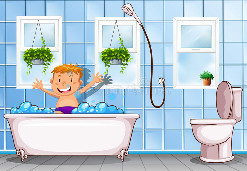 Junge, der ein Bad im Badezimmer nimmt stock abbildung