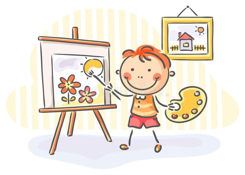 Junge, der ein Bild malt stock abbildung