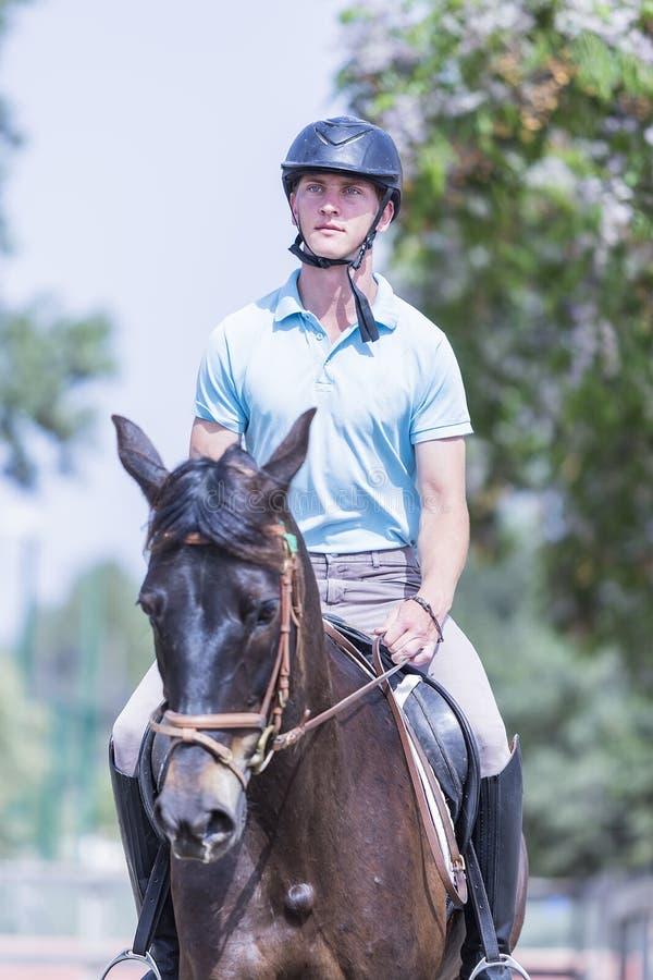 Junge, der ein braunes Pferd reitet stockfotografie