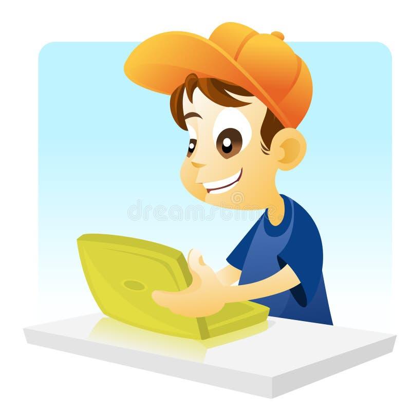 Junge, der ein Notizbuch betreibt lizenzfreie abbildung