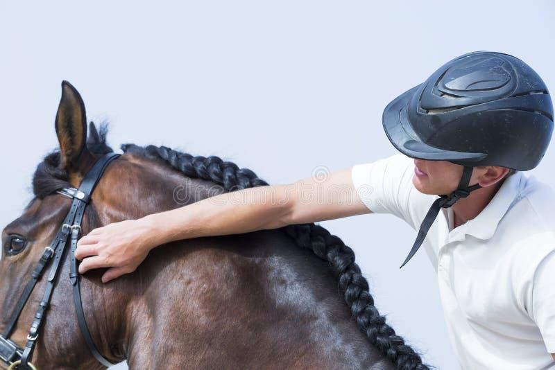 Junge, der ein Pferd streichelt lizenzfreie stockbilder