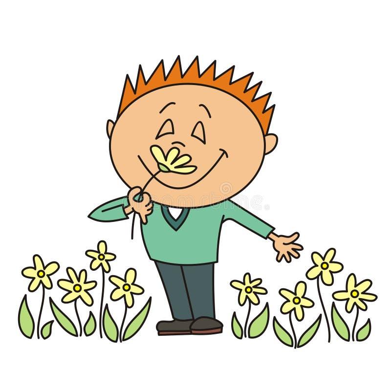 Junge, der eine Blume riecht lizenzfreie abbildung
