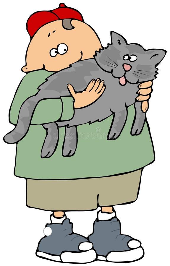 Junge, der eine graue Katze anhält lizenzfreie abbildung