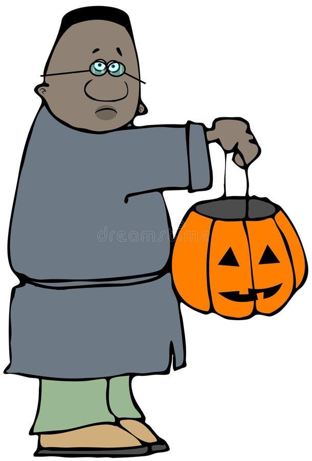 Junge, der eine Halloween-Steckfassung-Olaterne hält lizenzfreie abbildung