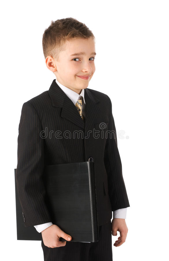 Junge, der einen Aktenkoffer anhält lizenzfreie stockfotografie