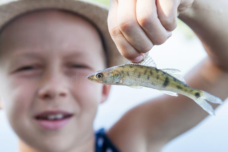 Junge, der einen Fischrogen hält stockfotos