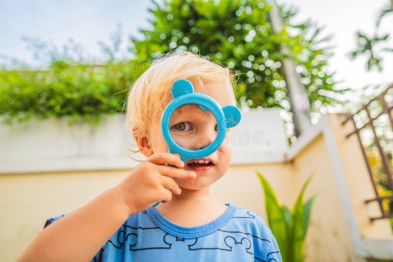 Junge, der in einer Lupe vor dem hintergrund des Gartens schaut Hausunterricht stockfoto