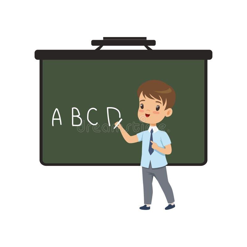 Junge, der englische Briefe auf Tafel, Grundschüler in einheitlicher Vektor Illustration auf einem Weiß schreibt vektor abbildung