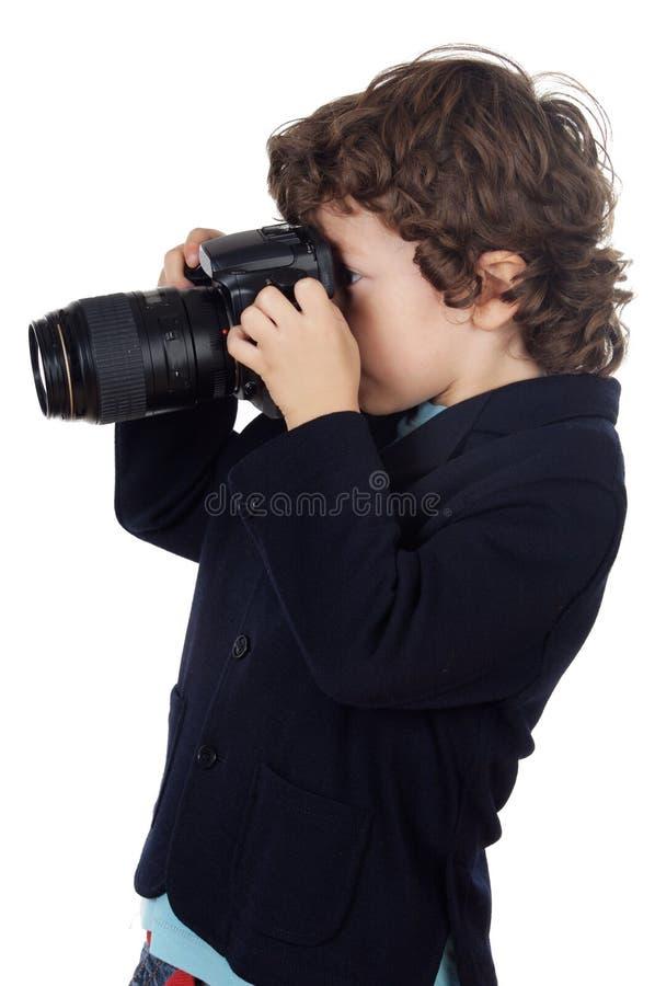 Junge, der Foto nimmt lizenzfreie stockbilder