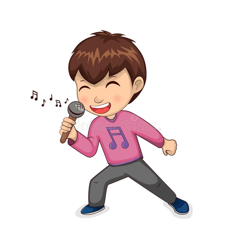 Junge, der glücklich Hobby-Vektor-Illustration singt stock abbildung