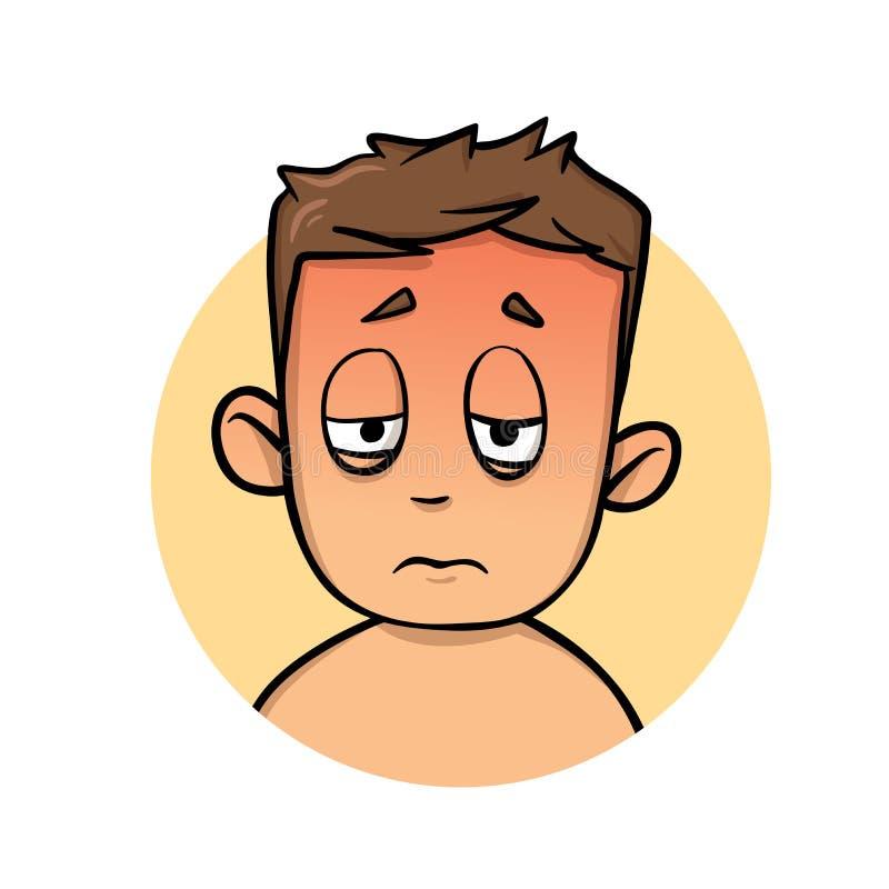 Junge, der heiß und krank sich fühlt Hitze, Sonnenanschlag, Krankheit Flache Vektorillustration Getrennt auf weißem Hintergrund lizenzfreie abbildung