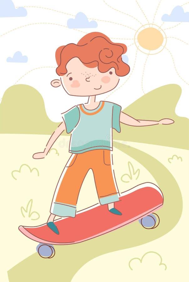 Junge, der hinunter einen Weg auf einem Skateboard eisläuft lizenzfreie abbildung