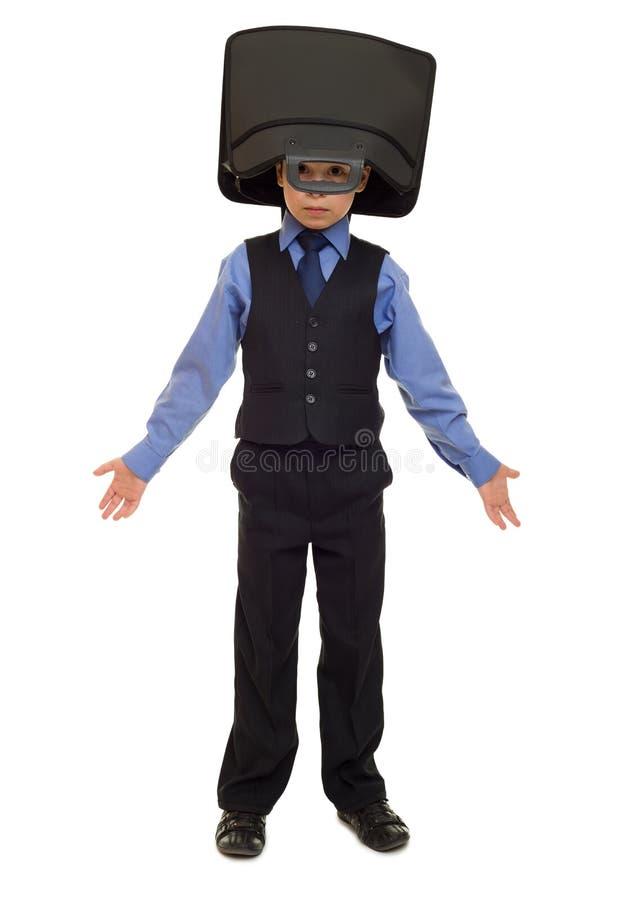 Junge in der Klage mit Aktenkoffer lizenzfreies stockbild