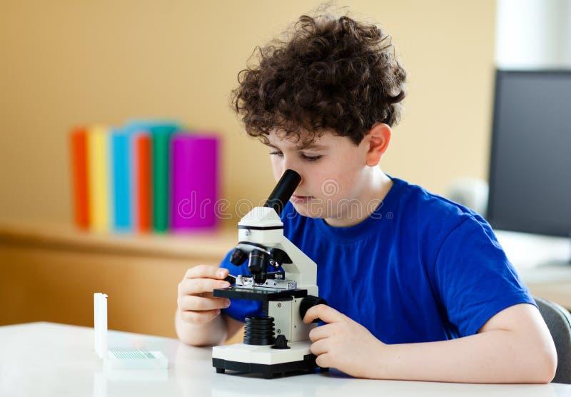 Junge, der Mikroskop verwendet lizenzfreies stockbild